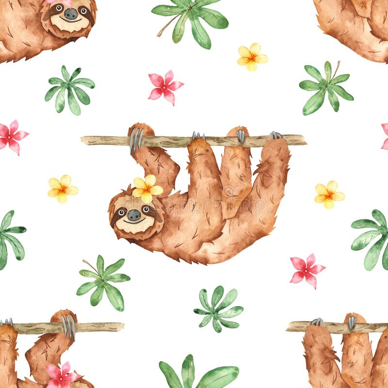 Watercolor seamless pattern with cute sloths on the branches and tropical flowers and leaves on white background. Cute sloths on the branches and tropical vector illustration