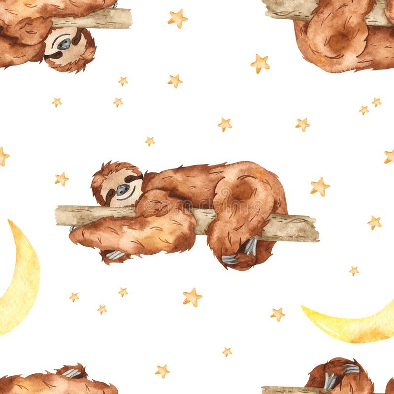Watercolor seamless pattern with cute sloths sleeping on a tree and the month on a white background. Cute sloths sleeping on a tree and the month on a white royalty free illustration