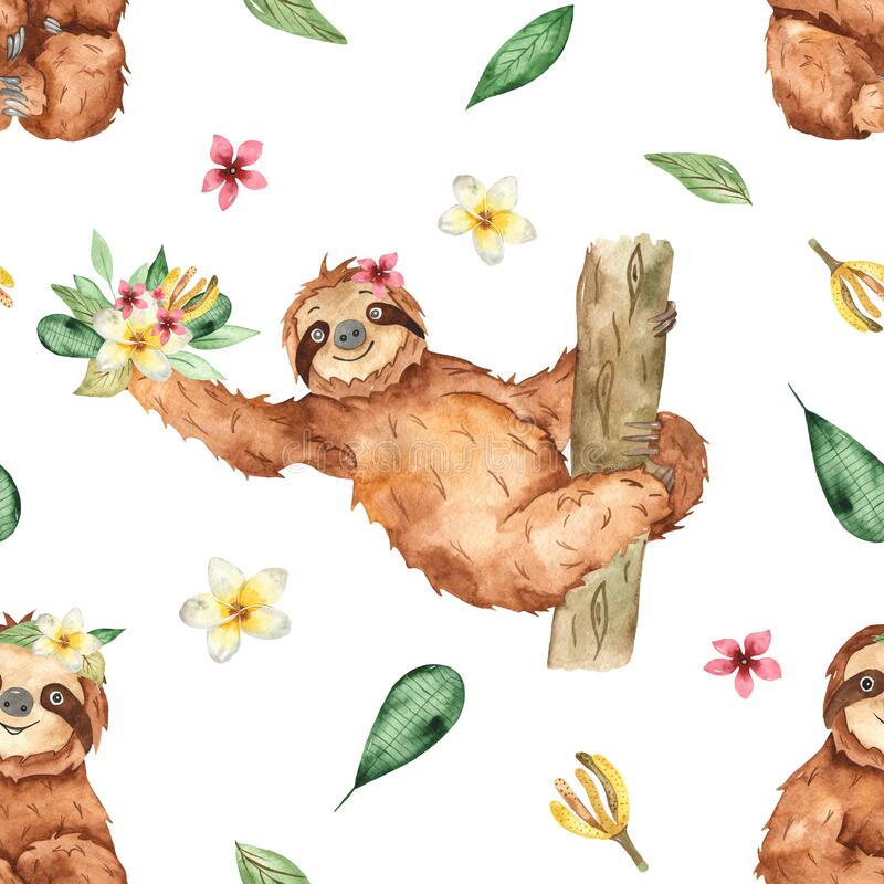 Watercolor seamless pattern with cute sloths and tropical flowers and leaves on a white background. Cute sloths and tropical flowers and leaves on a white stock illustration