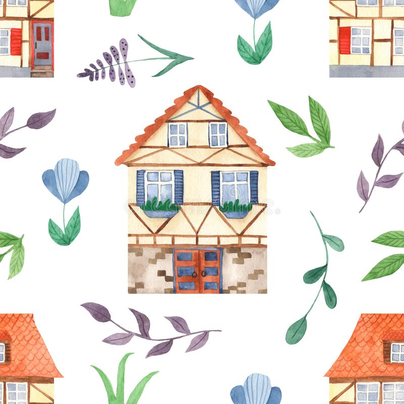 Watercolor seamless pattern with cute sweet houses, leaves, flowers. royalty free illustration