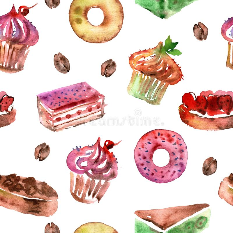 Watercolor seamless pattern with deserts, cupcakes, donuts and coffee. Watercolor seamless pattern with deserts, cupcakes, donuts stock illustration