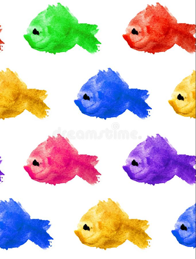 Watercolor seamless pattern different colors silhouettes of fishes with black eye on white background isolated in the form of a vector illustration