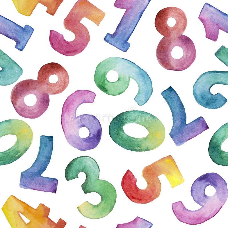 Watercolor seamless pattern of different number from one to nine stock illustration