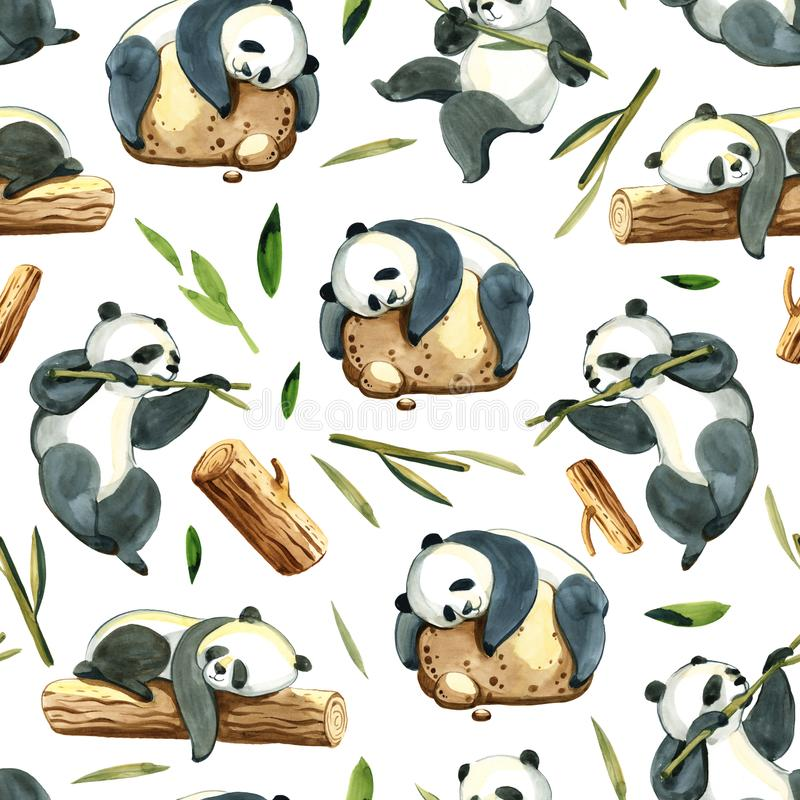 Watercolor seamless pattern of different panda and leaves. Watercolor illustration on white background. Seamless pattern of black and white panda, stone, green vector illustration