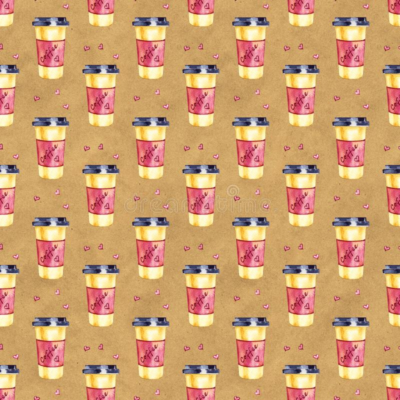Watercolor seamless pattern with disposables cups of coffee and hearts. Hand painted illustration.  stock image