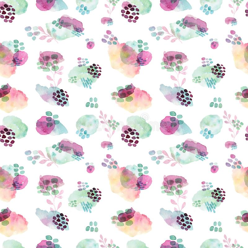Watercolor seamless pattern, dot memphis fashion style, bright design repeating background. Hand painted modern brush stock illustration