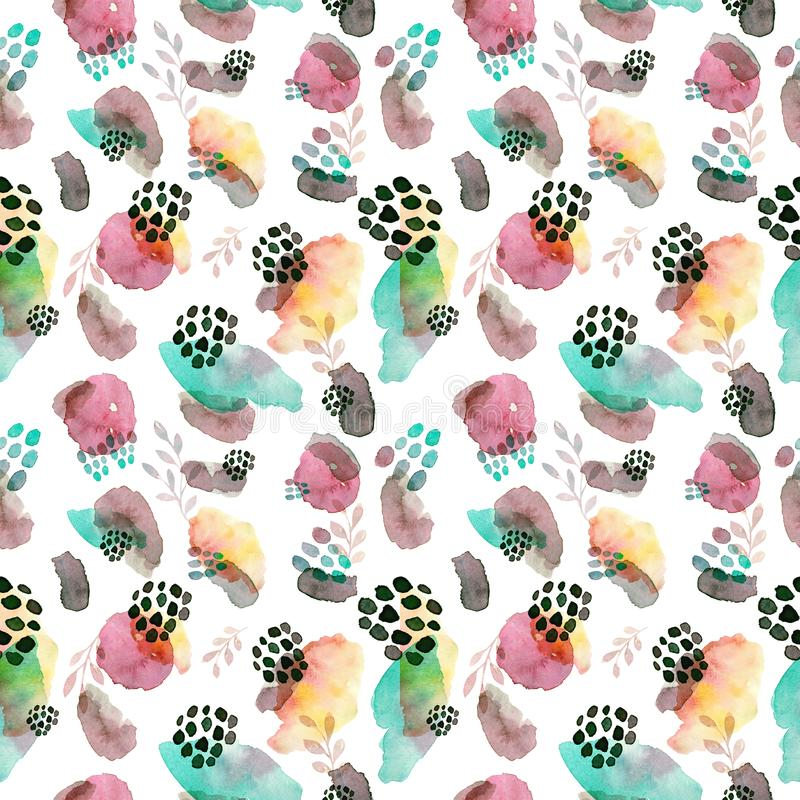 Watercolor seamless pattern, dot memphis fashion style, bright design repeating background. Hand painted modern brush vector illustration