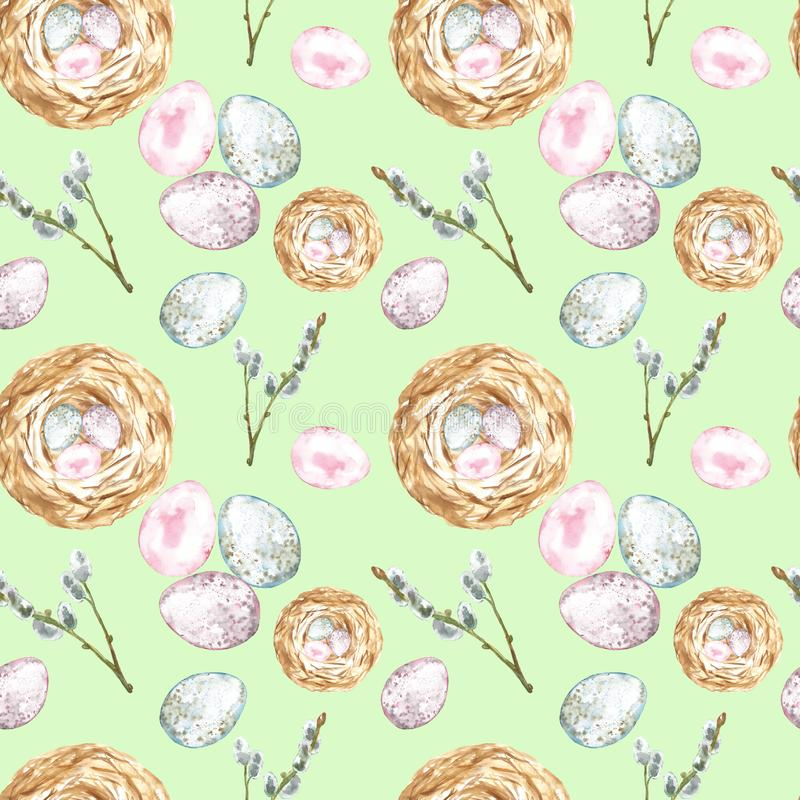 Watercolor seamless pattern with easter eggs, bird nest, pussy willow tree branch on green background. Easter symbols royalty free stock photo