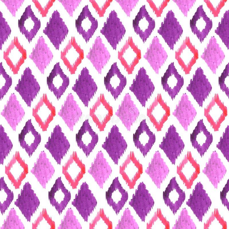 Watercolor seamless pattern. Ethnic geometric ornament stock illustration