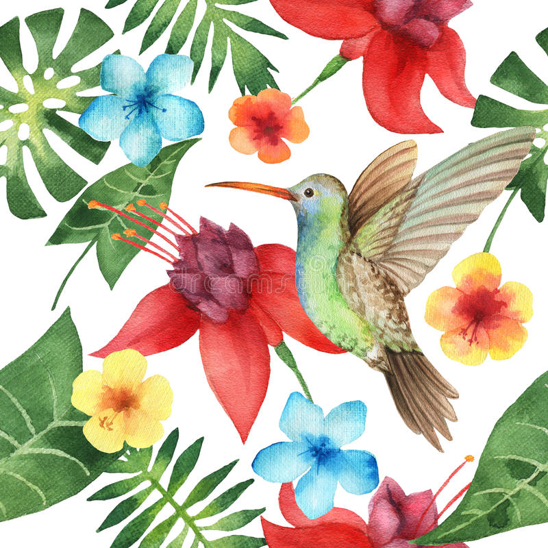 Watercolor seamless pattern with exotic flower. Watercolor seamless pattern with exotic flower, palm leaves and hummingbird on white background. Hand painted royalty free illustration