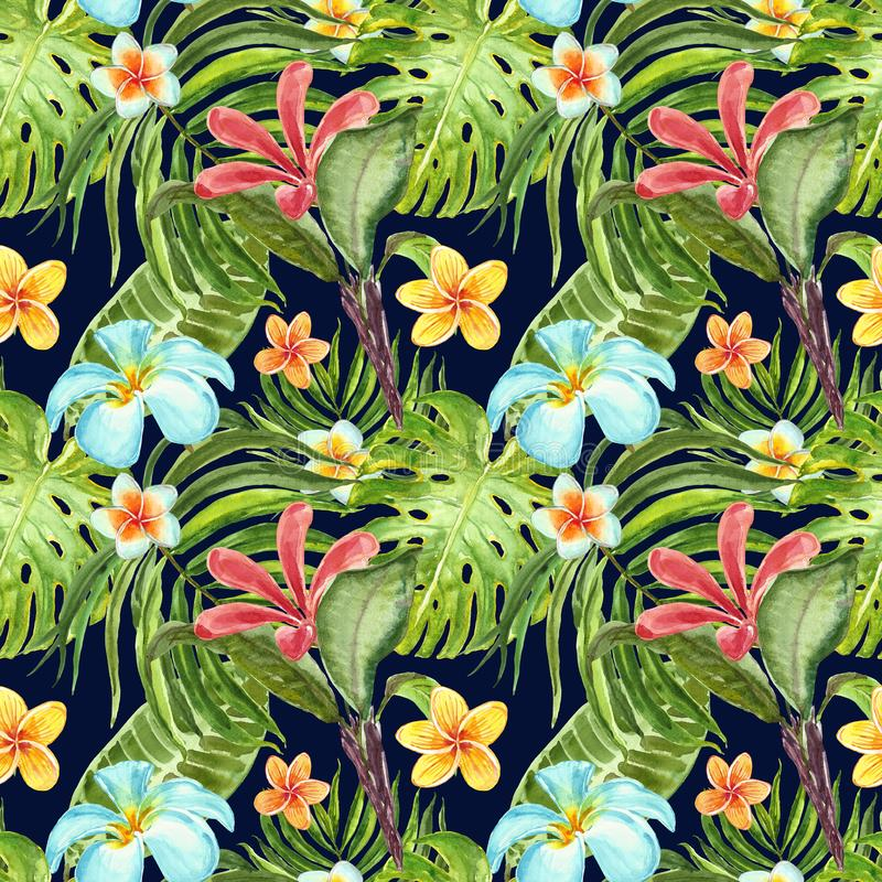 Watercolor seamless pattern with exotic plants, flowers and leaves on dark blue background. Summer tropical print. Green palm leaf. Watercolor summer tropical stock photo