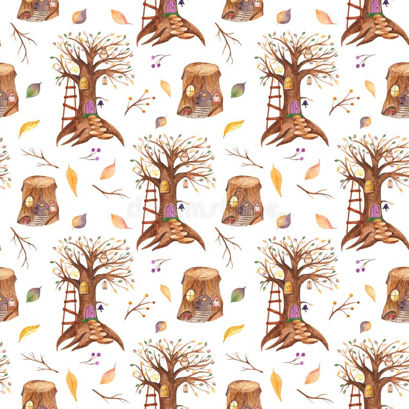 Watercolor seamless pattern with fairytale tree and stump. stock illustration