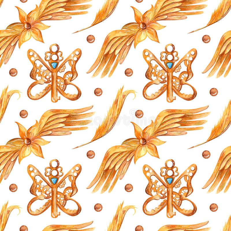 Watercolor seamless pattern in fantasy style with steampunk elements. Vintage background with keys, flowers, wings, and feathers in ginger, gold and blue vector illustration