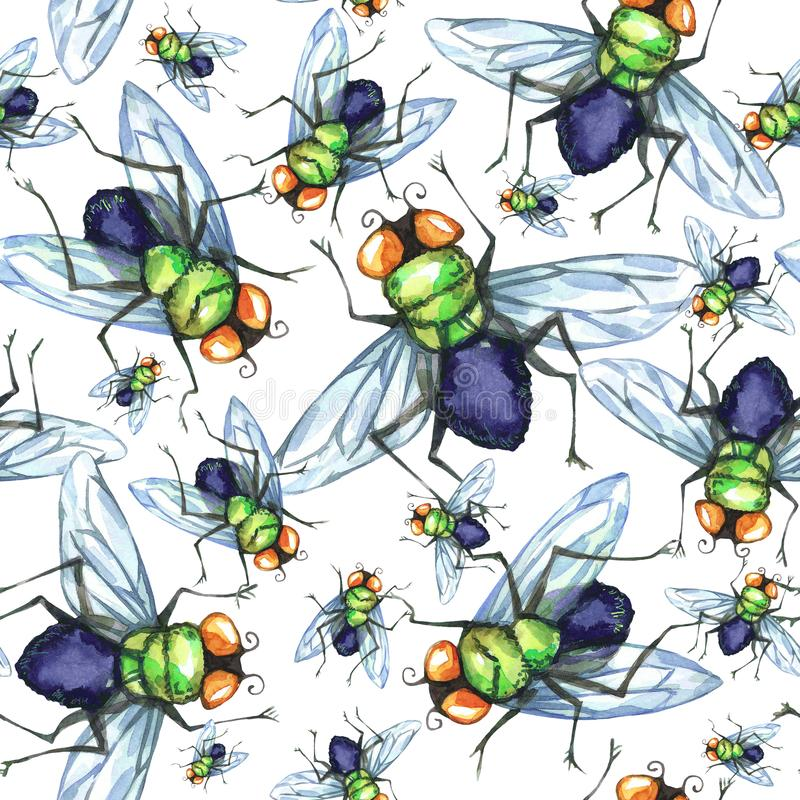 Watercolor seamless pattern, flock of flies. Halloween holiday illustration. Funny insects. Grunge background. Can be vector illustration