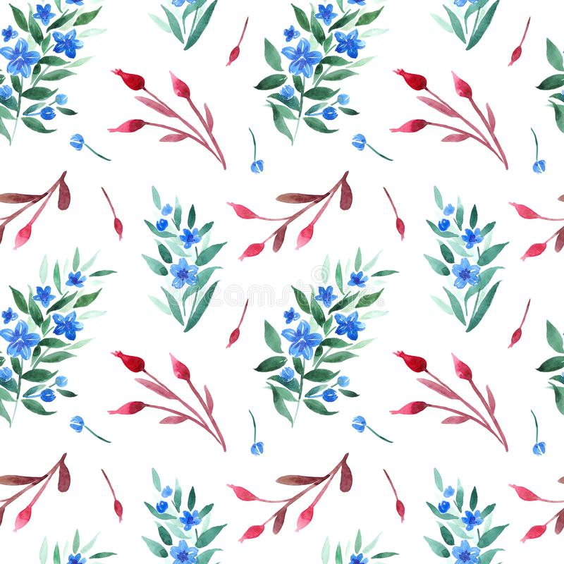 Watercolor seamless pattern with floral branches, dogrose berries and blue flowers royalty free illustration