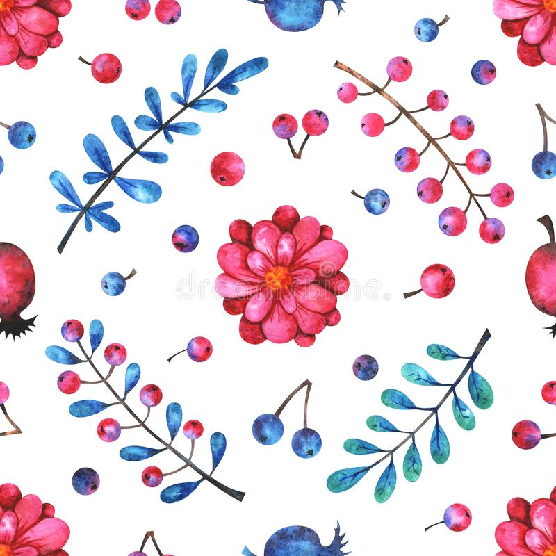 Watercolor seamless pattern with floral elements on white background stock illustration