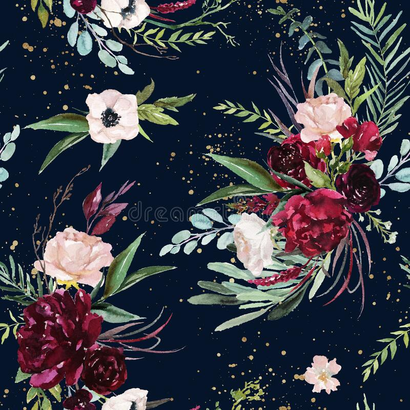 Free Watercolor Seamless Pattern. Floral Illustration - Burgundy, Pink, Blush Flowers Bouquets On Navy Background With Paint Splashes Royalty Free Stock Photography - 171389427