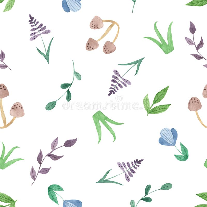 Watercolor seamless pattern with flowers, mushrooms, leaves, branches. royalty free illustration