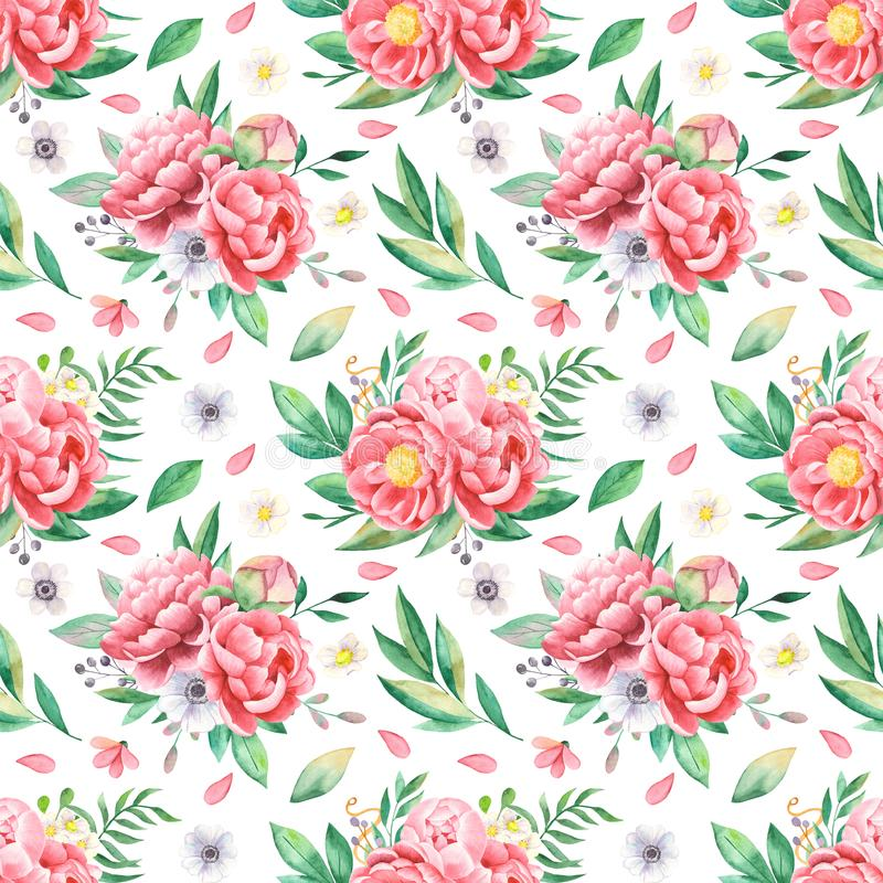 Watercolor seamless pattern of flowers of peonies, leaves, petals, anemones. stock illustration