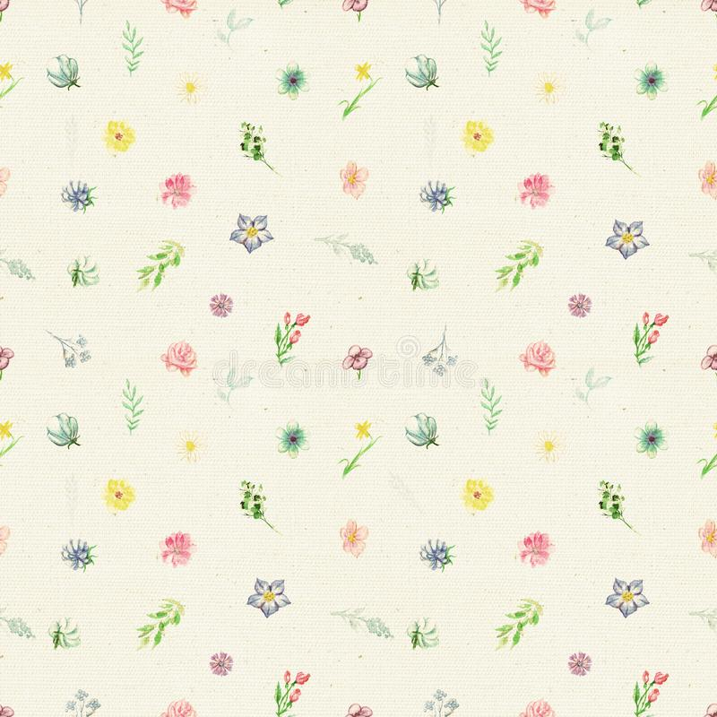 Watercolor seamless pattern with flowers and twigs stock illustration