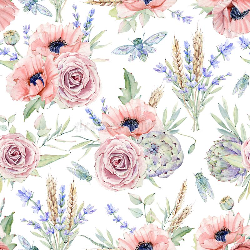 Watercolor seamless pattern with flowers. stock illustration