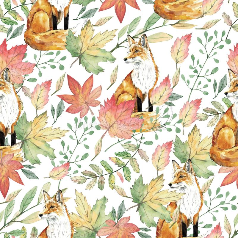 Watercolor seamless pattern with forest cute foxes, green and fall leaves, plants and branches. Autumn nature floral stock illustration