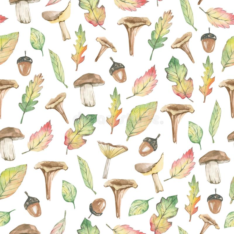 Free Watercolor Seamless Pattern Forest Fall Leaves And Mushrooms For Holiday, Greeting Cards, Posters, Books, Envelopes, Photo Album Royalty Free Stock Image - 159910426