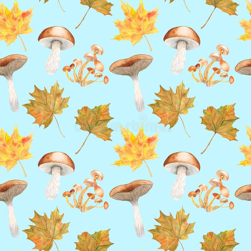 Watercolor seamless pattern Forest life Illustration with mushrooms and leaves. Watercolor seamless pattern Forest life Illustration on white background with vector illustration