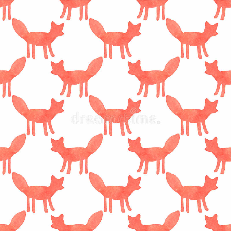Watercolor seamless pattern with foxes on the royalty free illustration