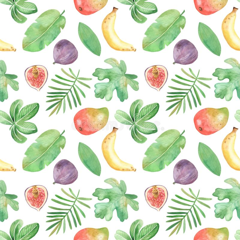 Watercolor seamless pattern with fruits, plants, leaves, flowers of Africa. vector illustration