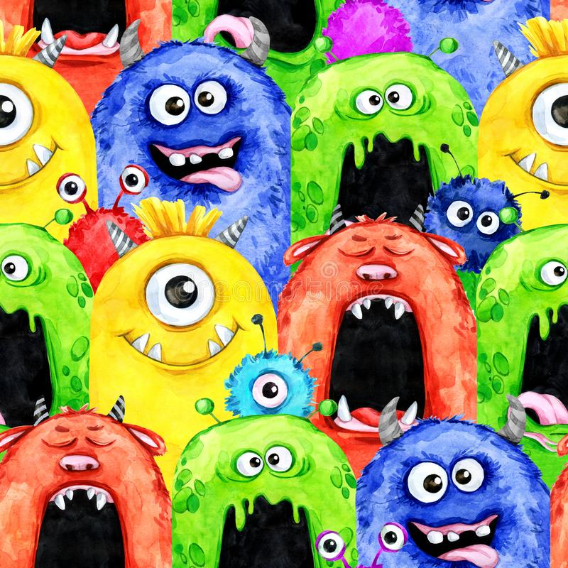 Watercolor seamless pattern with funny monster heads. royalty free illustration