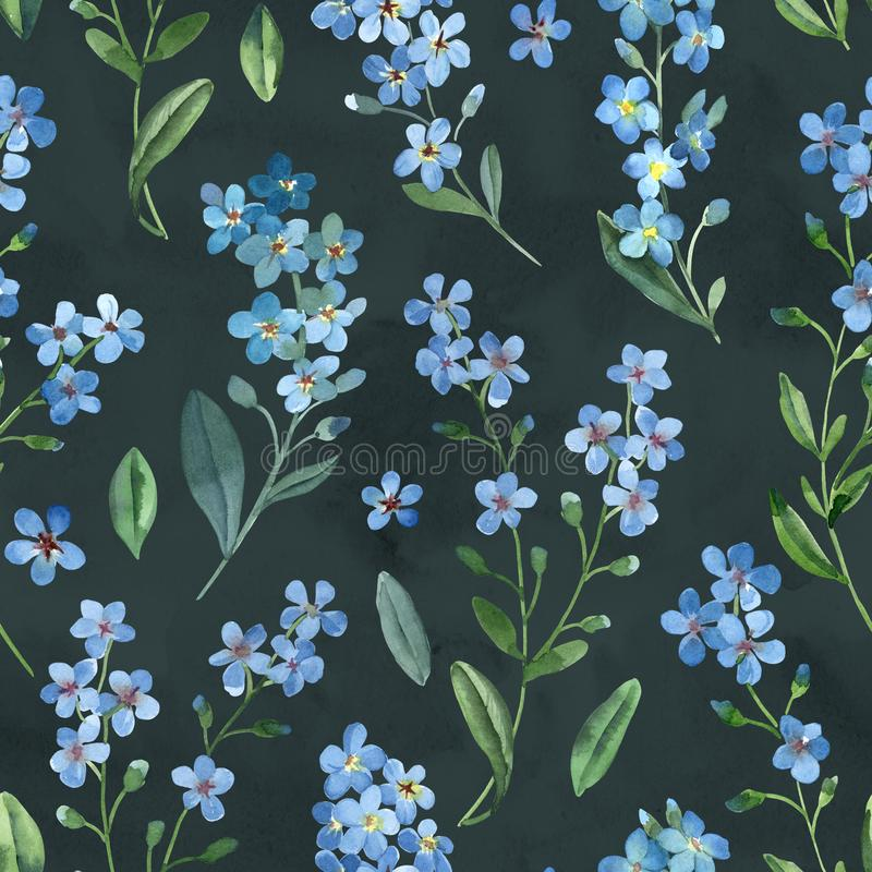Watercolor seamless pattern of gentle blue flowers of forget-me-not with green leaves on dark background vector illustration