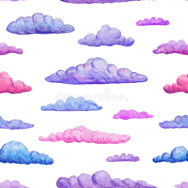 Watercolor seamless pattern of gentle pink purple and blue clouds on white backdrop. watercolor pastel clouds backdrop. Hand. Watercolor seamless pattern of stock images
