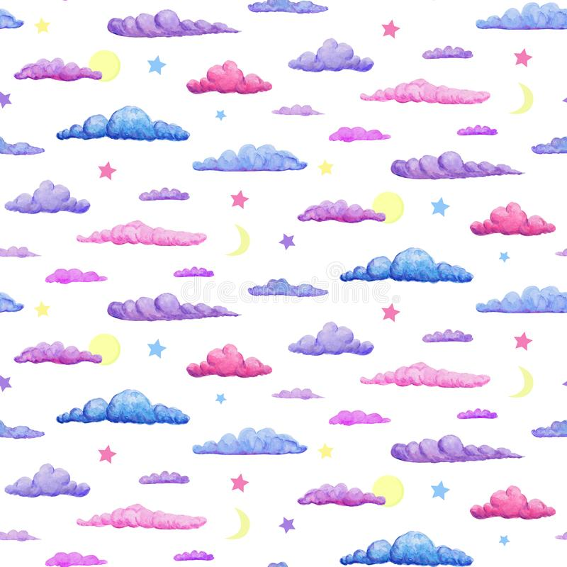 Watercolor seamless pattern of gentle purple pink and blue clouds. pastel clouds with stars crescent and full moon on white. Watercolor seamless pattern of vector illustration