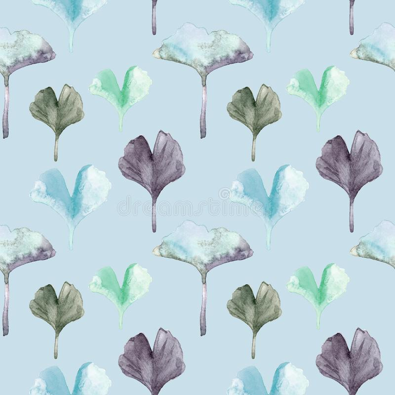 Watercolor seamless pattern with Gingko leaves.blue, purple and green colors royalty free illustration