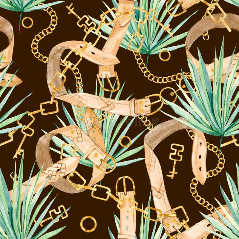Watercolor seamless pattern golden chain and tropical leaves, colorful exotic summer print. Watercolor seamless pattern golden chain and  tropical leaves vector illustration