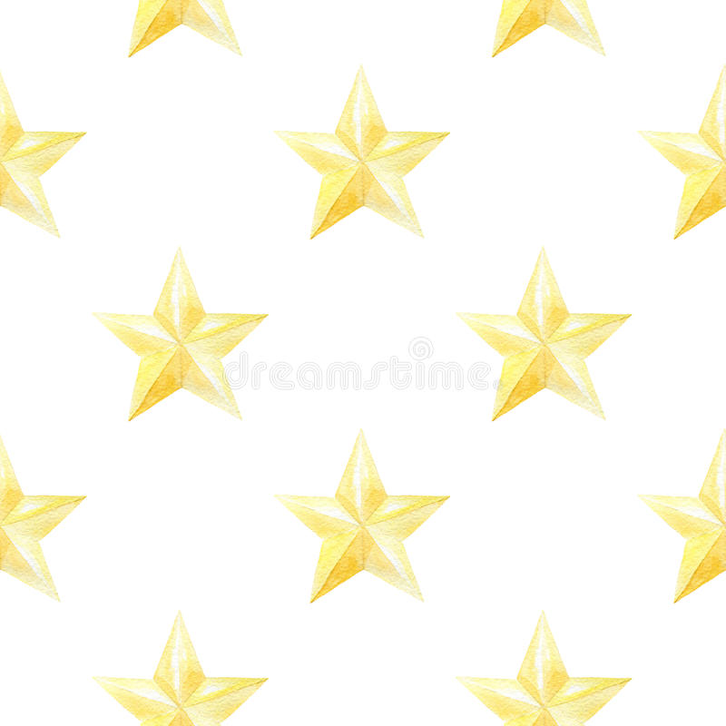 Watercolor seamless pattern with golden stars. christmas or new year print for wrapping paper, card or textile design. stock illustration