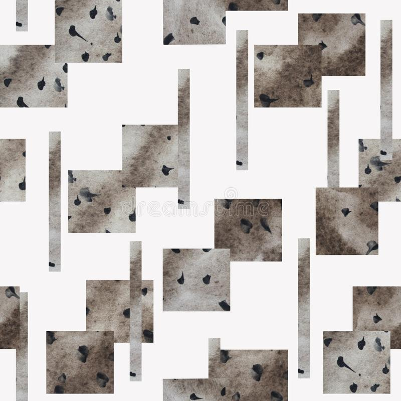 Seamless pattern with gray geometric shapes on  white background. royalty free illustration