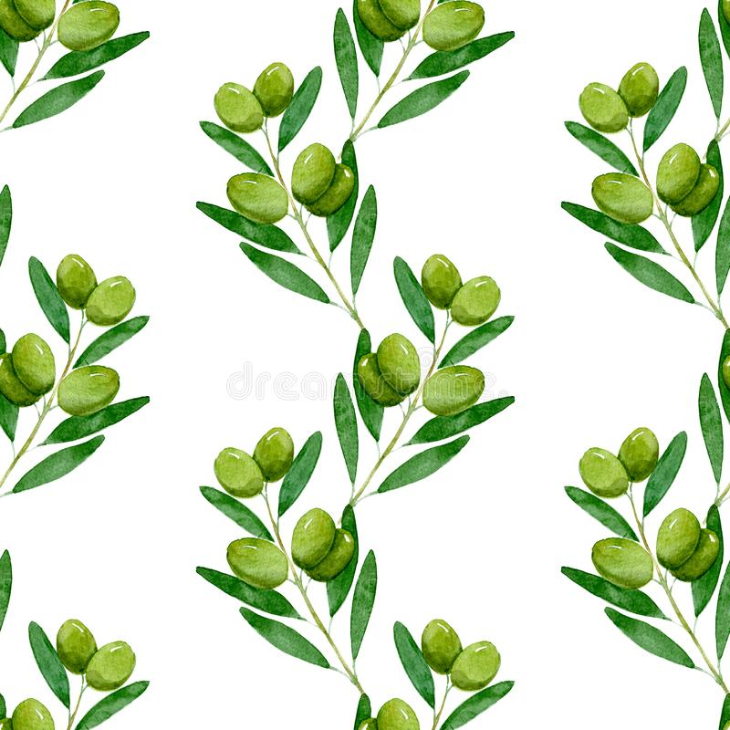 Watercolor seamless pattern of Green olives on white background stock illustration
