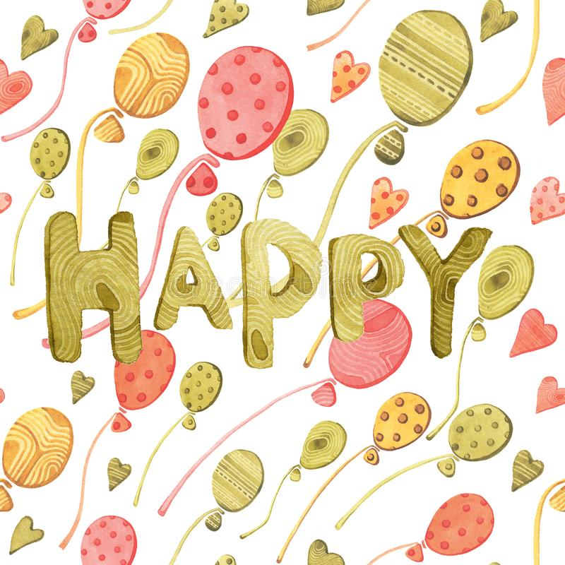 Watercolor seamless pattern with green, red, yellow balloons, hearts and word HAPPY on white isolated background. royalty free illustration