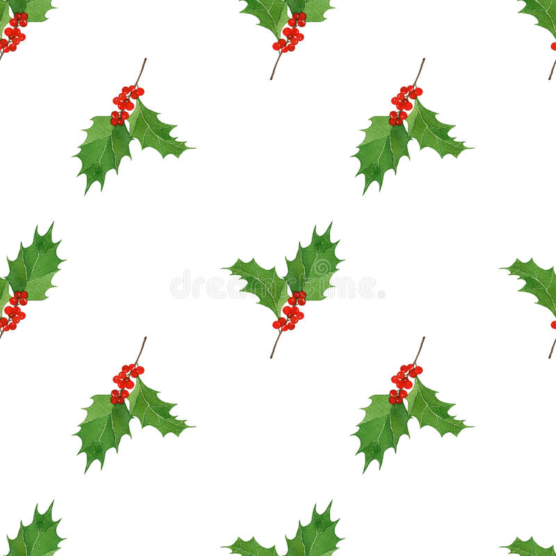Watercolor seamless pattern with hand draw Christmas and New Year elements.:holly berries and leaves. royalty free illustration