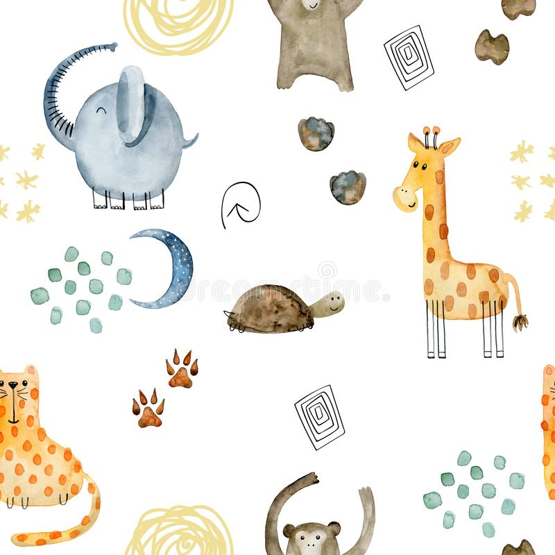 Watercolor safari animals. Watercolor seamless pattern with hand drawn animals. Exotic wallpaper for fabric, wrapping paper , etc stock illustration