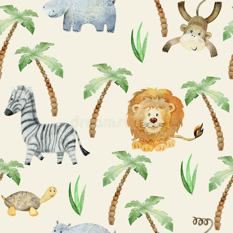 Watercolor safari animals. Watercolor seamless pattern with hand drawn animals. Exotic wallpaper for fabric, wrapping paper , etc royalty free illustration