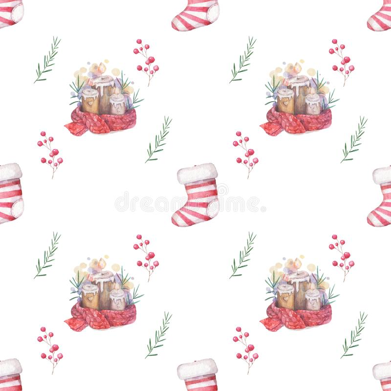 Watercolor seamless pattern Hand drawn Burning candle in christmas candlestick of fir branches with colorful painting red scarf. Seamless pattern Hand drawn stock illustration