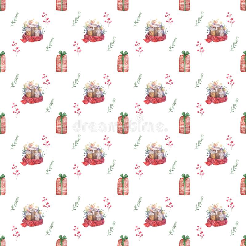 Watercolor seamless pattern Hand drawn Burning candle in christmas candlestick of fir branches with colorful painting red scarf. Seamless pattern Hand drawn vector illustration