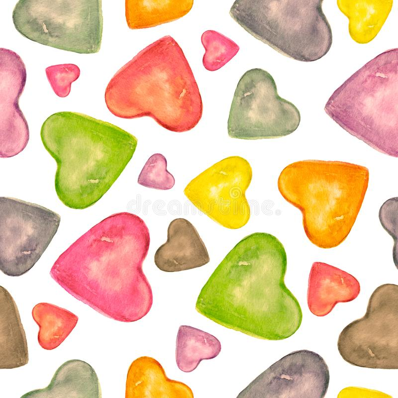 Watercolor seamless pattern with hand drawn colorful heart isolated on white background romantic design. Love card with pink, red,. Green, grey hearts. For royalty free illustration