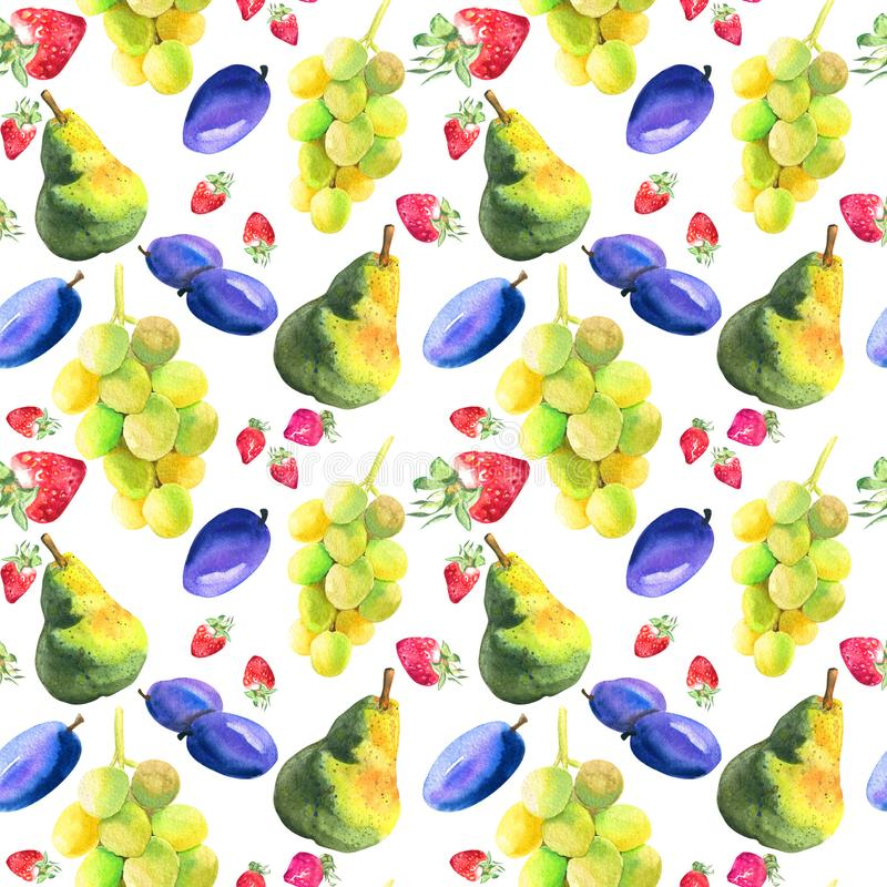 Watercolor seamless pattern with hand drawn fresh juicy fruits stock illustration