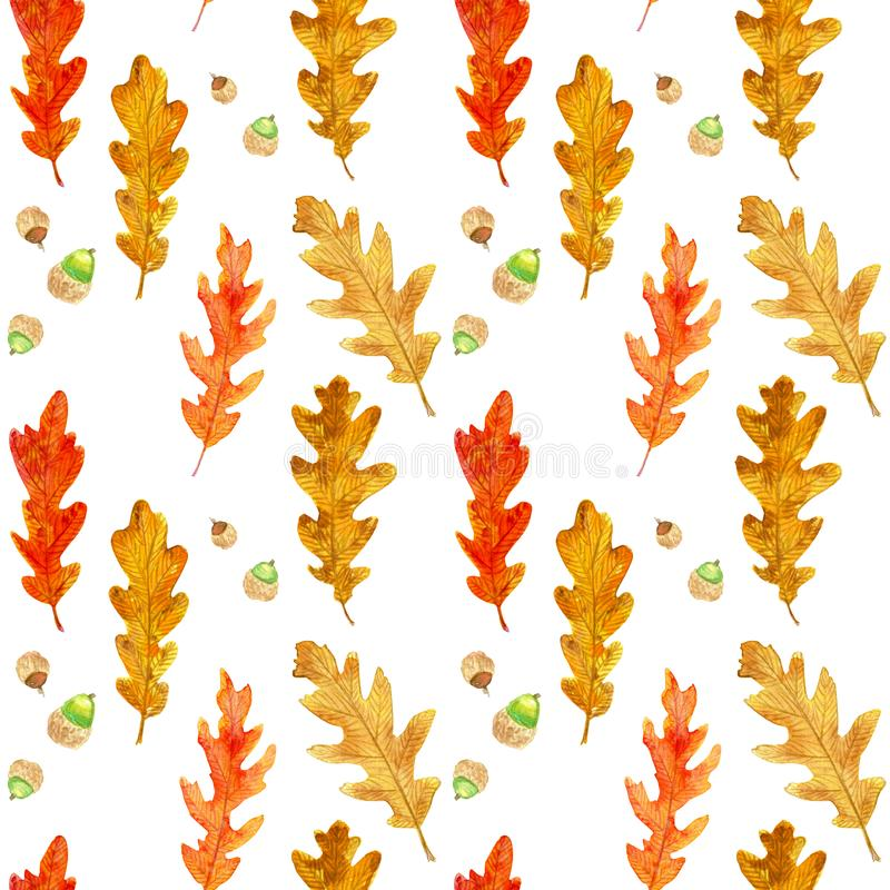 Watercolor autumn oak leaves seamless pattern royalty free stock photo