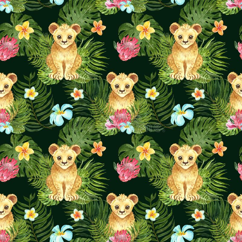 Tropical nursery seamless pattern with cute cartoon little lion cub, green palm leaves and exotic flowers on dark green background stock photography
