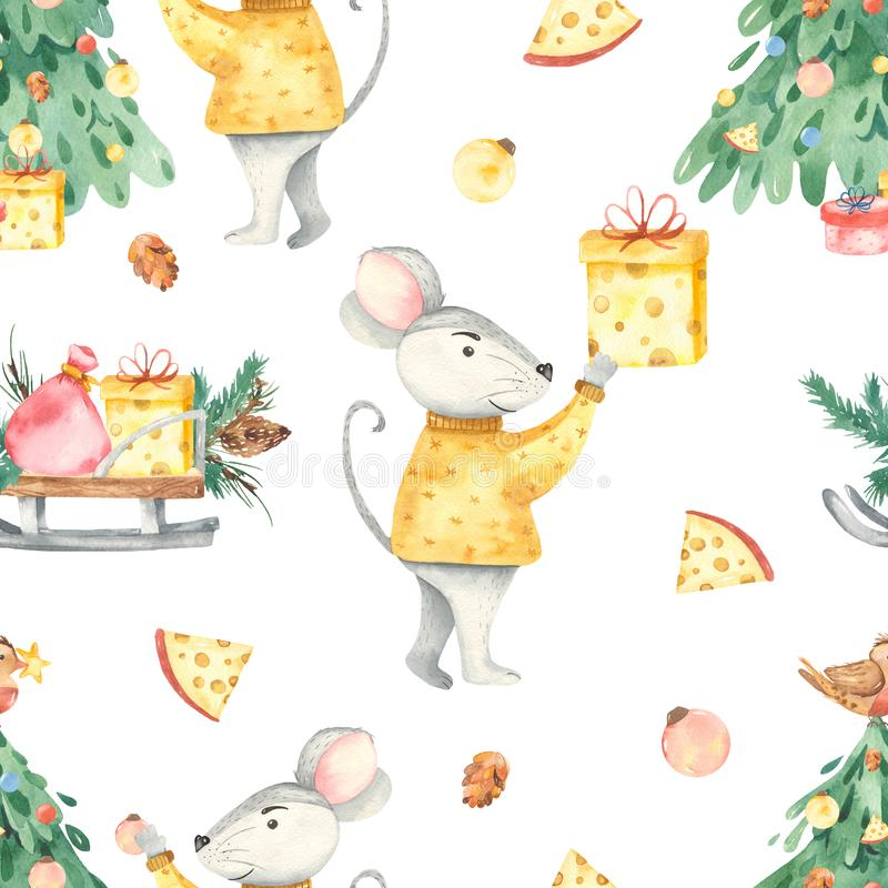 Watercolor seamless pattern of happy christmas spruce rat cheese gifts. Cute watercolor cartoons of the rat, mouse, Christmas fir, gifts seamless pattern stock illustration